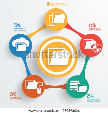 File sharing,technology info graphic design - stock vector