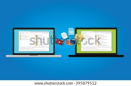 file transfer copy document backup to laptop from between computer icon symbol illustration sync - stock vector
