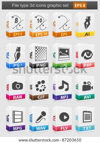 File type 3d icons set. Vector illustration - stock vector