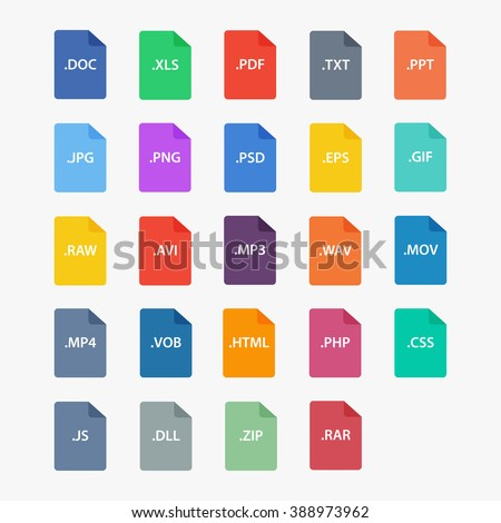 File type icon.  File extensions vector illustration. File type and document types in flat style.  Popular file formats sign isolated from the background. - stock vector