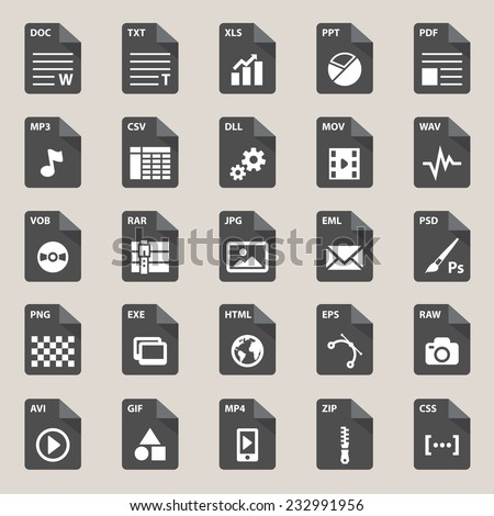 File types icon - stock vector