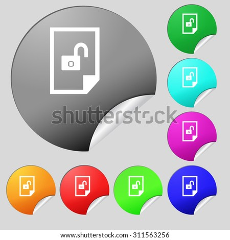 File unlocked icon sign. Set of eight multi colored round buttons, stickers. Vector illustration - stock vector