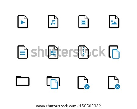 Files duotone icons on white background. Vector illustration. - stock vector