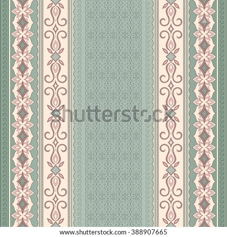 Filigree Beige Seamless Border On Green Background Colored Element For Design In Eastern Style