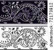 Filigree flower border, color variant and cliche - stock vector