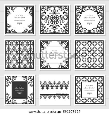 Filigree Frames Decorative Panels Set Laser Stock Vector ...