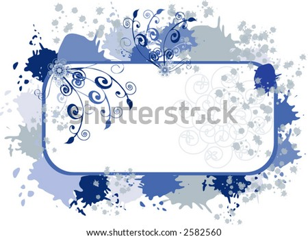 filigree grunge frame vector - stock vector