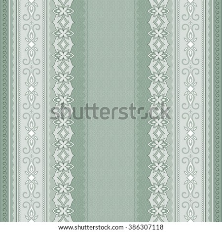 Filigree Light Green Seamless Border On Background Colored Element For Design In Eastern Style
