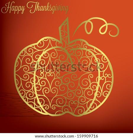 Filigree pumpkin Thanksgiving card in vector format. - stock vector