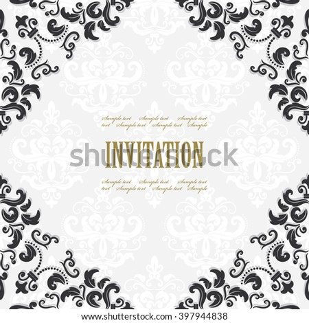 Filigree Square Frame On Damask Invitation Stock Vector HD (Royalty ...