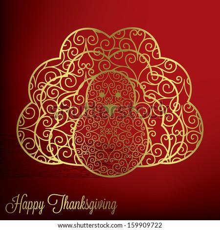 Filigree turkey Thanksgiving card in vector format. - stock vector