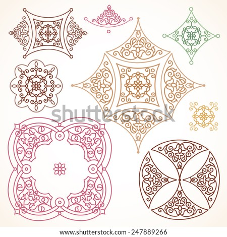 Filigree vector frames and vignettes in Eastern style. Ornate element for design. Ornamental outline pattern for wedding invitations and greeting cards. Traditional vintage floral decor. - stock vector