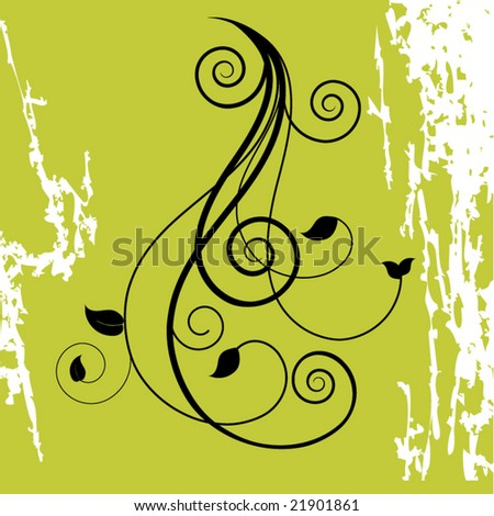 filigree with grunge - stock vector