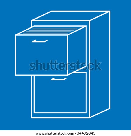 filing cabinet icon - stock vector