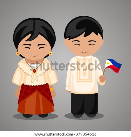 Filipinos in national dress with a flag. A man and a woman in traditional costume. Travel to Philippines. People. - stock vector