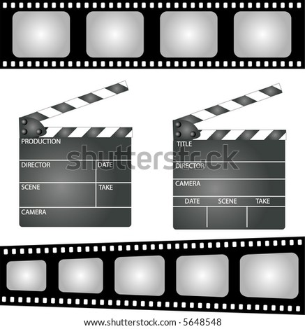 open movie clapper board template icon stock illustration, Powerpoint templates