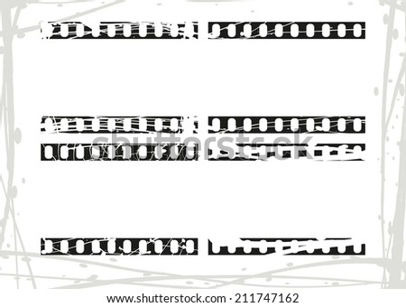 Film border in grunge style, filmstrip, movies pattern set, film strip pattern, abstract grunge background - stock vector