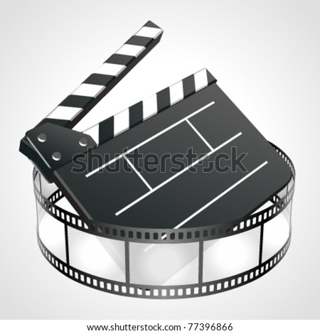 Film clap board cinema strip vector illustration. Eps 10. - stock vector
