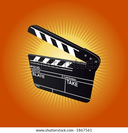 Film Clapboard (editable vector) - also available rasterized jpeg in this gallery - stock vector