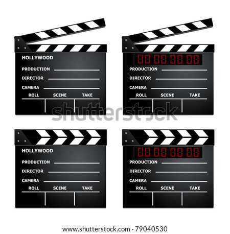 Film clapboard set eps8 - stock vector