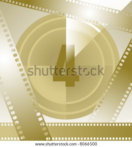 film countdown at number 4 - stock vector