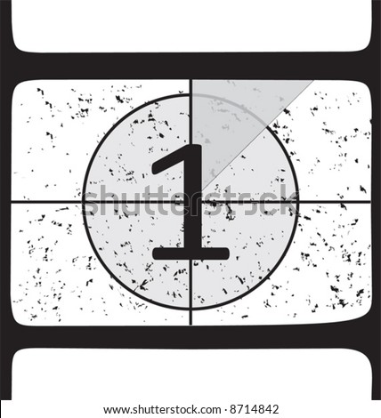 Film countdown at number 1. Vector illustration - stock vector