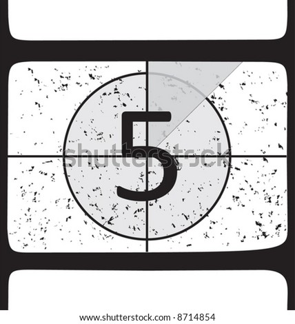 Film countdown at number 5. Vector illustration - stock vector
