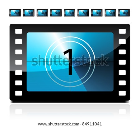 Film countdown from 1 to 9 - stock vector