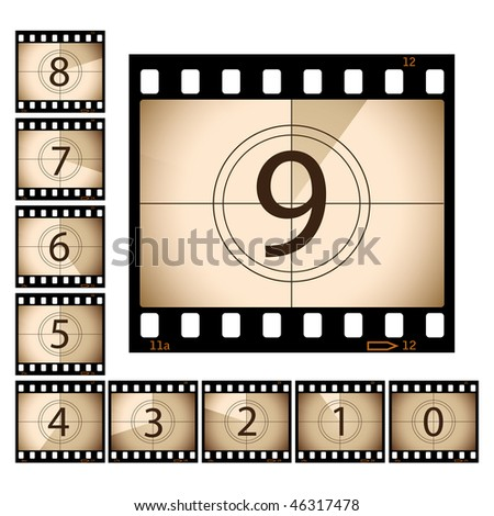 Film Countdown with separate frames - stock vector