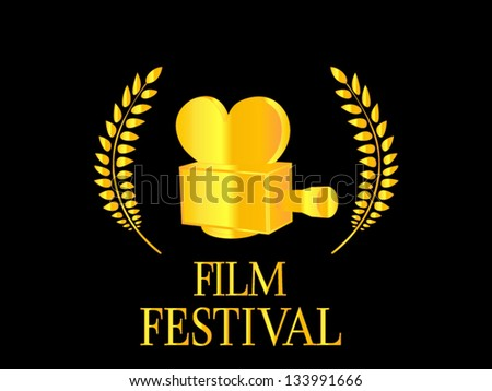 Film Festival Camera Golden - stock vector