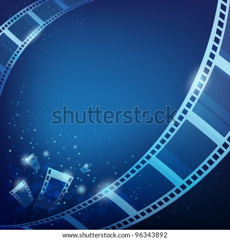 film for photos blue background, vector illustration - stock vector