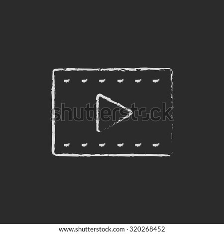 Film frame hand drawn in chalk on a blackboard vector white icon isolated on a black background.
