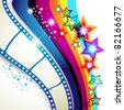 Film frames over colorful background - stock vector