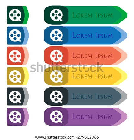 Film  icon sign. Set of colorful, bright long buttons with additional small modules. Flat design. Vector - stock vector
