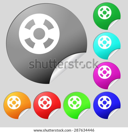 film icon sign. Set of eight multi colored round buttons, stickers. Vector illustration - stock vector
