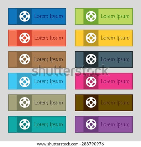 film icon sign. Set of twelve rectangular, colorful, beautiful, high-quality buttons for the site. Vector illustration - stock vector