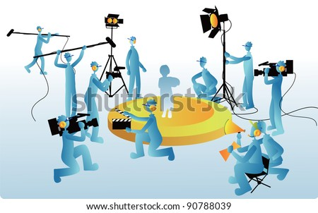 Film Maker and working staff on blue background - at the TV studio and set  for movie films with production crew