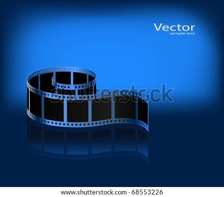 Film on a dark blue background. Vector. - stock vector