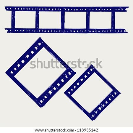 Film reel. Doodle style - stock vector
