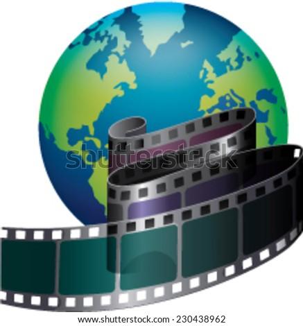 Film strip and globe - stock vector