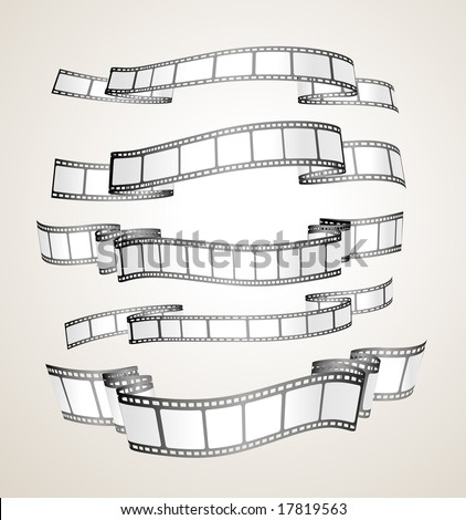film strip banners - black and white- vector - stock vector