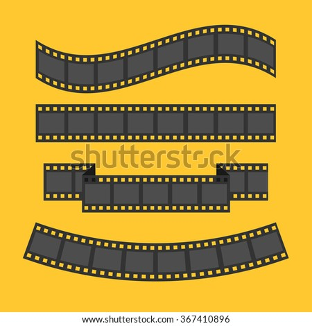 Film strip frame set. Different shape ribbon. Design element. Yellow background. Flat design. Vector illustration - stock vector