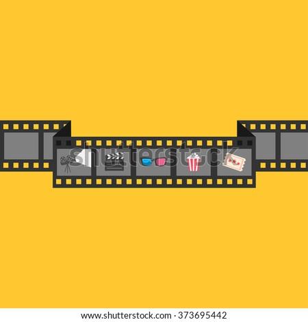 Film strip icon set. Popcorn, clapper board, 3D glasses, ticket, projector. Cinema movie night. Flat design style. Yellow background. Vector illustration - stock vector