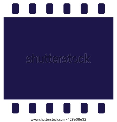 Film strip icon vector. Blue background - stock vector