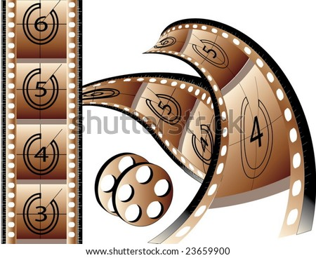 Film strip  isolated in white background. Border,strip & rill are separated into 3 layers.so easy to edit. - stock vector