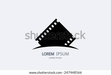 Film strip logo. Vector logotype design. - stock vector