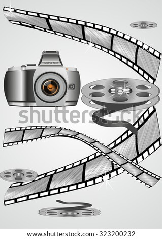 film strip roll set, Grunge at cinema, Cinema theme background - stock vector