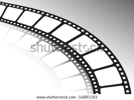 Film strip twisted and reflected   vector background illustration - stock vector