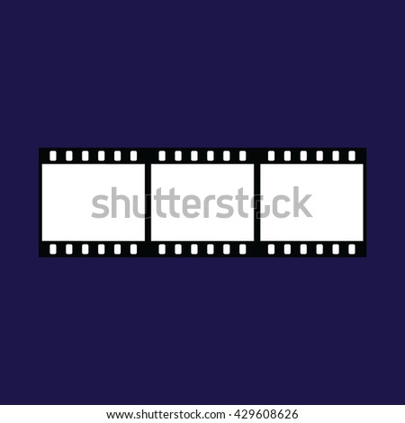 Film strip vector icon. Blue background - stock vector