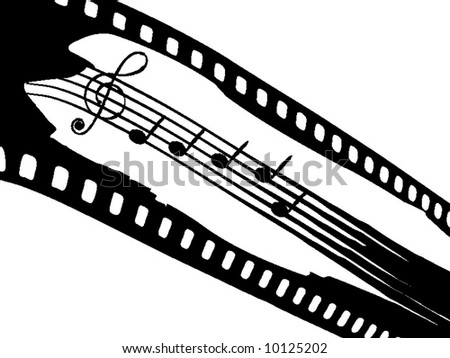 Film strip with elements of music - stock vector